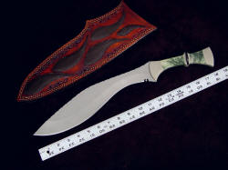 """Maginus-Nasmyth"" custom handmade khukri, scaled view. The cutting edge of the khukri is long and formidible"