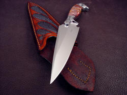 """Malaka"" knife blade point detail. Malaka has  a very aggressive point, with full top spine swage and deep hollow grind"