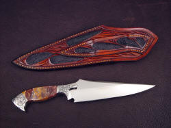 """Malaka"" reverse side view. Note full inlays on sheath back and belt loop"