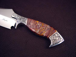 """Malaka"" obverse side handle detail. Cabernet Jasper is very hard, outlasting all other components of this knife"