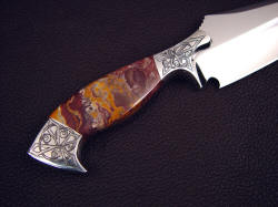 """Malaka"" reverse side handle detail. Note bolster front face sculpting to define grind termination, striking hard, tough jasper gemstone handle scales"