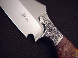 """Malaka"" obverse side front bolster detail. Note bolster sculpting, fine lines, hand engraved pattern in high nickel, high chromium stainless steel"