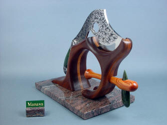"""Manaya"" hatchet and celt on stand. All handmade, hand-carved and finished ceremonial, sculpted knife art."