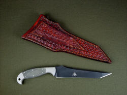 """Mercator"" with leather sheath reverse side view. Sheath belt loop is thick and solid, all tooled."