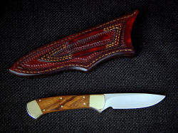 """Mirach"" reverse side view. Sheath back is tooled, and has double row stitching on belt loop for durability"