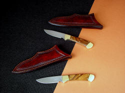 """Mirach"" Pair of matching knives with African Sandalwood handles and brass fittings"