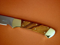 """Mirach"" obverse side handle detail. African  Sandalwood (Tamboti) is hard, tough and takes a beautiful polish"