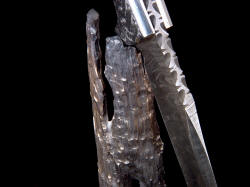 """Morta"" knife blade on stand detail of deep filework complimenting hand-carved wax cast bronze sculptural stand"