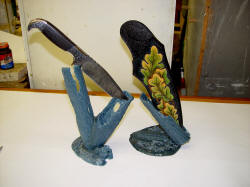 """Morta"" Wax models fittted to knife and sheath for casting in bronze with lost wax casting"