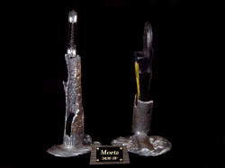 """Morta"" knife sculpture, right end view. Forms are carved in wax and cast in molten bronze by hand."