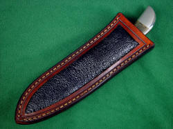 """Mule"" sheath is simple and elegant, with black frog skin inlays in hand-carved leather shoulder, hand-stitched"
