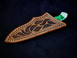 """Nekkar"" sheathed view. Sheath is simple and clean, with hand carving and shadowed relief, highlighted with antique stain"