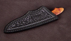 """Nihal"" sheathed view. Sheath is simple and protective, clean stitching in polyester sinew"