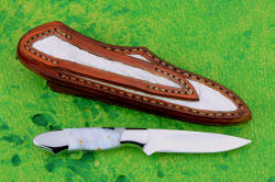 """Nunki"" reverse side view, sheath back has full panel inlay of alligator skin and panel inlaid in belt loop."
