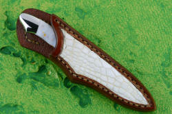 """Nunki"" sheathed view. Sheath is small but protective, with bold white alligator skin inlays, front and back"