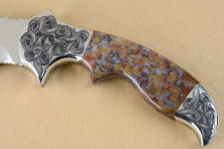 """Orion"" obverse side gemstone handle details. Rio Grande Agate handle is seamlessly fitted to bolsters and handle tang"