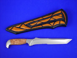 """PJ"" fine tanto style knife, reverse side view. Note full inlays on back of sheath and even in belt loop"