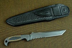 """PJ-CT"" reverse side view. Hammerhead serrations and razor keen blade in this large tactical counterterrorism knife"