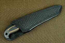 """PJ-CT"" sheathed view showing high back in deep protective heavy sheath made of leather shoulder"
