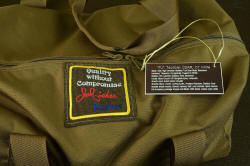 """PJ-CT"" 1000 denier double row stitched ballistic nylon Cordura duffle with engraved co-extruded acrylic materials plate, embroidered emblem"
