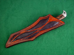 """PJLT"" sheathed view. Leather sheath is deep, thick, and protective of both the knife and wearer."