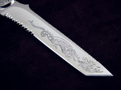 """PJLT Dragon"" reverse side blade detail. 440C is difficult and challenging to hand engrave"