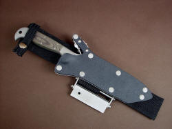 """PJLT"" sheathed view. Sheath is positively locking with stainless steel mechanism, Chicago screws in sheath body are bead blasted stainless steel"