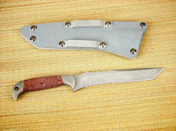 """PJLT"" Tactical CSAR knife, reverse side view. note deep hollow grind and reversible belt loops on gray kydex sheath"