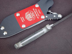"""PJLT"" Air Force Pararescue custom knife, inside handle detail. Handle is tough, comfortable and corrosion resistant"