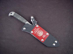"""PJLT"" USAF Pararescue CSAR knife, sheathed view. The sheath has a removable flash plate, and is positively locking and highly corrosion resistant"