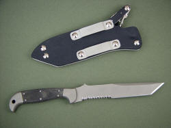 """PJLT"" CSAR knife, reverse side view. Note reversible belt loops for wear options"
