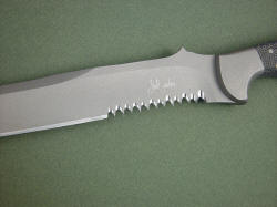 """PJLT"" CSAR knife, blade, serrations detail."