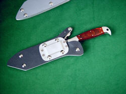 """PJLT"" with knife locked in reversible sheath, reversible belt loop set for vertical (traditional) wear"
