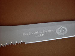 """PJ"" reverse side blade engraving detail. Knife personalization identifies, honors contribution of soldiers and civilian professionals alike."