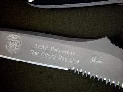 """PJST"" obverse side blade engraving detail. It is an honor to make knives for our nation's top military rescue service, United States Air Force Pararescue"