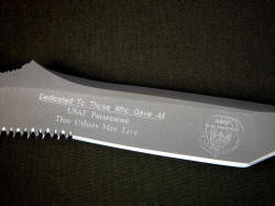 """PJST"" reverse side engraving detail. Honoring those who have fallen in combat."