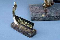 """Pallene"" custom handmade knife sculpture, nameplate detail. Note reflection in polished surface of granite"