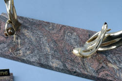 """Pallene"" custom handmade knife sculpture, pattern in granite polished base detail"