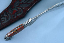 """Pallene"" custom handmade knife sculpture, knife blade spine detail shows filework, tapered tang, contouring of bolsters"