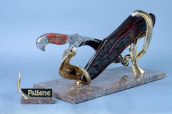 """Pallene"" custom handmade knife sculpture, back side left view. Sculptural components of silicon bronze match design on knife and sheath, hand-cast by lost wax process"