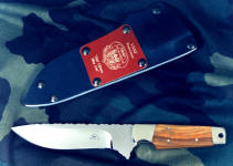 "USAF Pararescue ""Paraeagle"" CSAR knife in 440C high chromium stainless steel blade, nickel silver bolsters, Arririba (Canarywood) exotic hardwood handle, tension fit kydex, aluminum, blued steel sheath with engraved red lacquered brass flashplate"