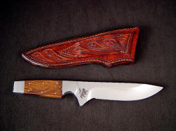 """Paraeagle"" reverse side view. Note hand-carving and tooling on rear of sheath including belt loop"