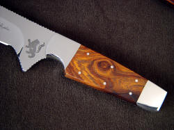 """Paraeagle"" fine tactical, custom knife, obverse side handle detail. Handle is tough, hard Desert Ironwood, secured with full bedding and six stainless steel pins"