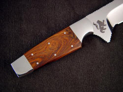"""Paraeagle"" tactical custom knife, reverse side handle detail. Note rampant lion etched in ricasso"