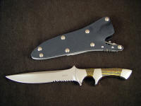 """Patriot"" Tactical knife, obverse side view: ATS-34 high molybdenum stainless steel blade, 304 stainless steel bolsters, Australian Tiger Iron gemstone handle, locking kydex, aluminum, stainless steel sheath"