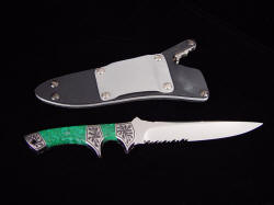 """Patriot"" reverse side view. Note impressive solid aluminum belt loop on locking knife sheath"