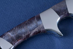 """Patriot"" reverse side gemstone handle detail. Fit is extremely tight, no seam can be felt between tang, bolsters and gemstone handle scales."