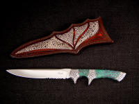 """Patriot"" 440C high chromium hollow ground stainless steel blade, hand-engraved 304 stainless steel bolsters, Ruby in Zoisite Gemstone handle, Frog skin inlaid in hand-carved leather sheath"