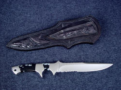 """Patriot"" custom knife, reverse side view. Sheath has emu skin exotic inlays on back and even in the belt loop"