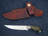 """Pecos II"" in 440C high chromium stainless steel blade, hand-engraved nickel silver bolsters, Blue Tiger Eye gemstone handle, horizontal basket weave tooled leather sheath"
